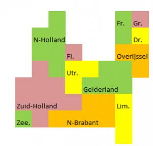 Soort van kaart van Nederland waarbij elk vierkantje ongeveer 400 duizend mensen representeert